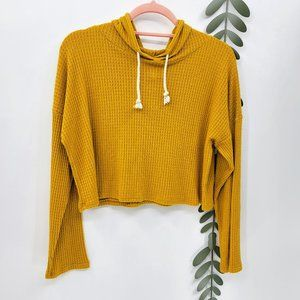 Caution To The Wind Waffle Knit Crop Hooded Shirt